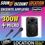 LOCATION ENCEINTE AMPLIFIÉE 300W + 2 MICROS FILAIRES