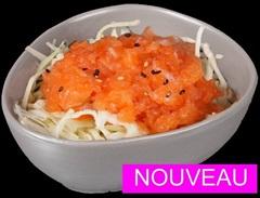 Salade de choux, tartare de saumon