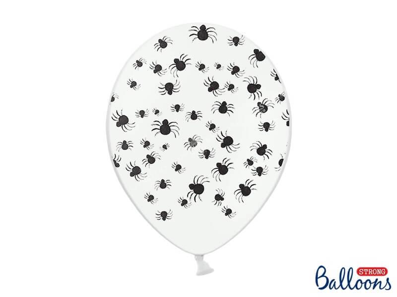 Lot 50 Ballons Halloween blanc avec motifs araignées