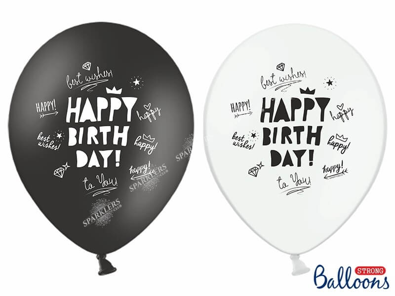 "Lot de 10 Ballons ""HAPPY BIRTHDAY"" Noirs & Blancs"