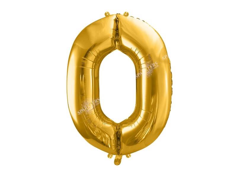 Ballon anniversaire chiffre 0 86cm or (gold)