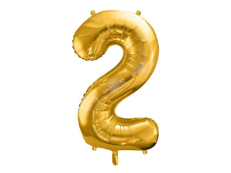 Ballon anniversaire chiffre 2 Or (gold) 86cm