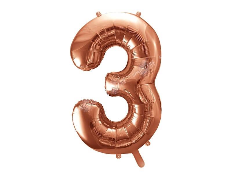 Ballon anniversaire chiffre 3 Or Rose 86cm