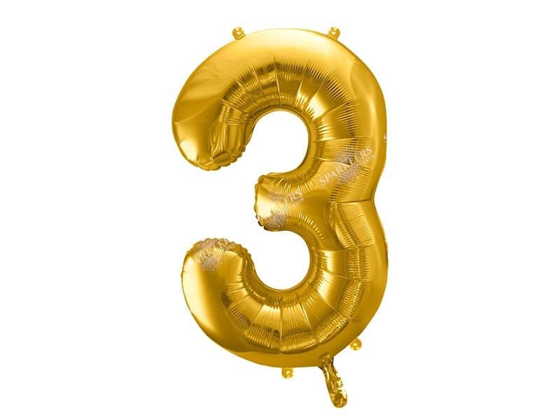 Ballon anniversaire chiffre 3 Or (gold) 86cm