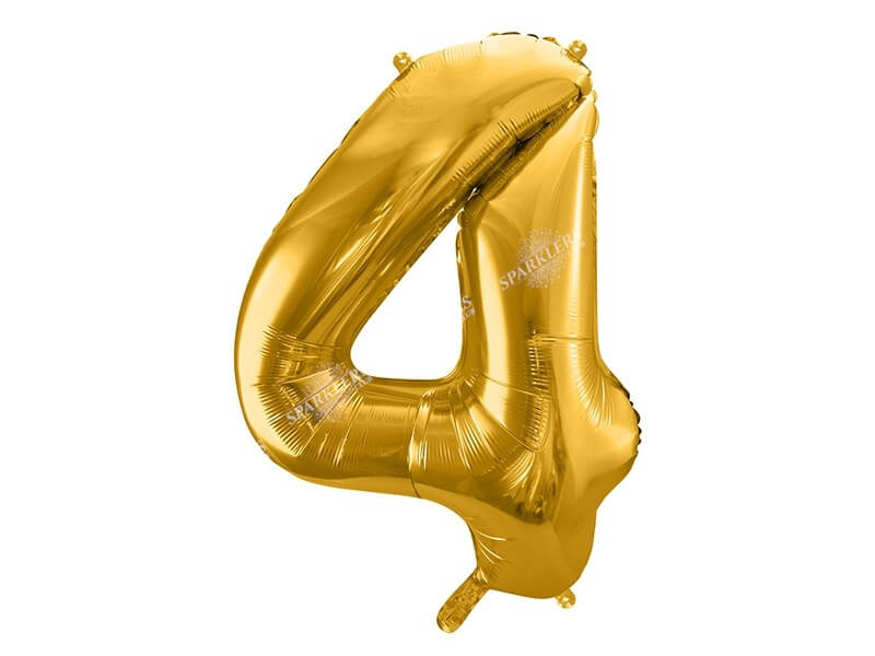 Ballon anniversaire chiffre 4 Or (gold) 86cm