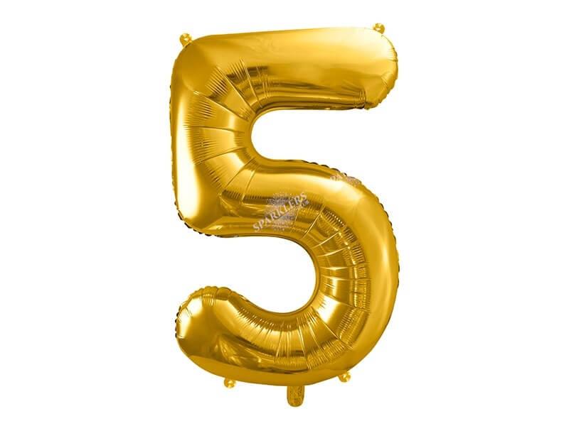 Ballon anniversaire chiffre 5 Or (gold) 86cm