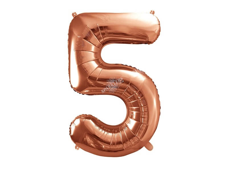 Ballon anniversaire chiffre 5 Or Rose 86cm