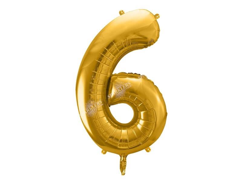 Ballon anniversaire chiffre 6 Or (gold) 86cm