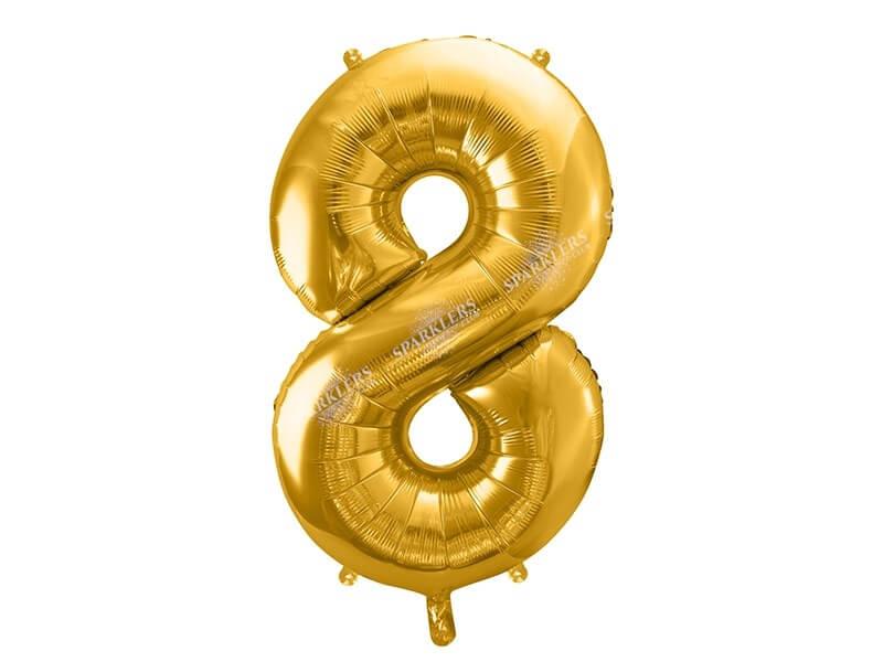 Ballon anniversaire chiffre 8 Or (gold) 86cm
