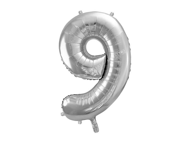 Ballon anniversaire chiffre 9 Argent 86cm