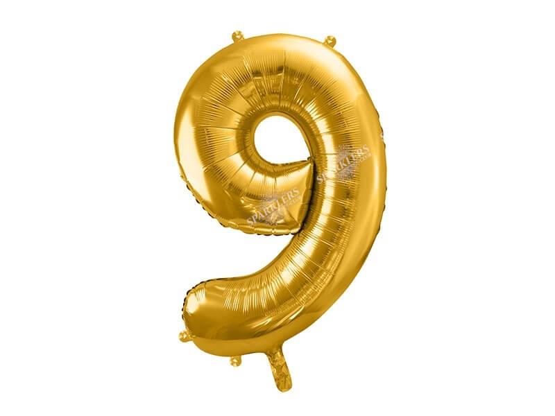 Ballon anniversaire chiffre 9 Or (gold) 86cm