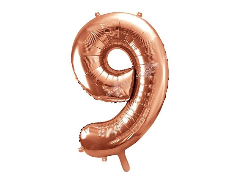 Ballon anniversaire chiffre 9 Or Rose 86cm