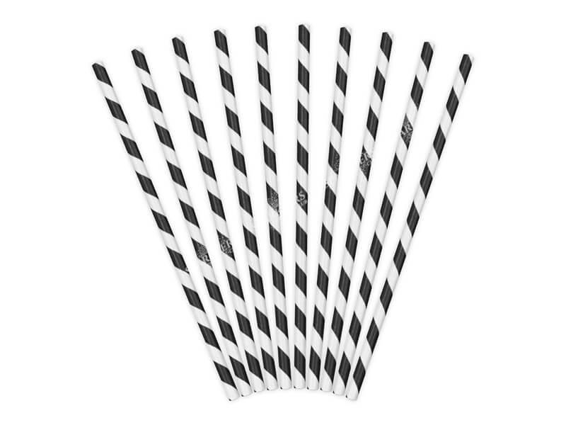 100 Pailles en papier de couleurs noires à rayures blanches