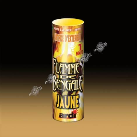 FLAMME DE BENGALE JAUNE 1 MN