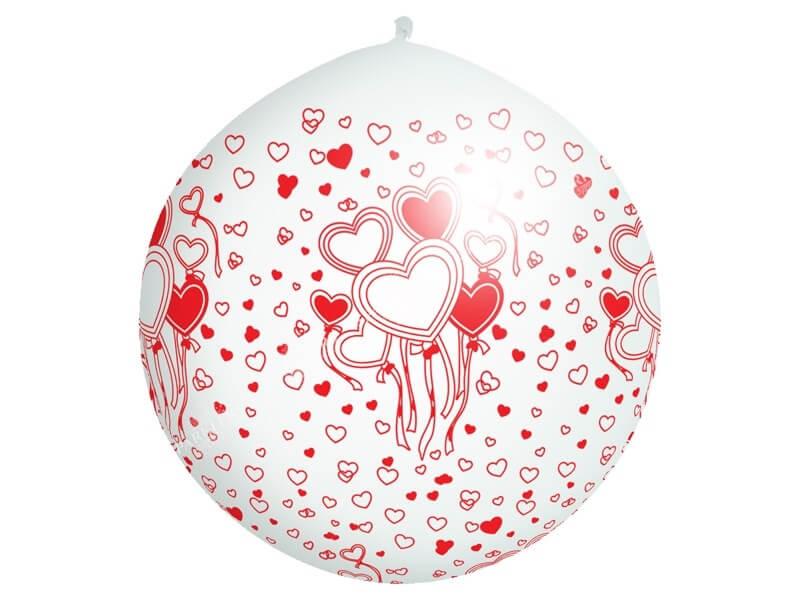 Ballon géant 100cm motif coeur rouge