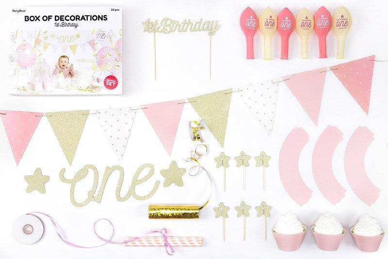 Kit décoration 1er anniversaire or
