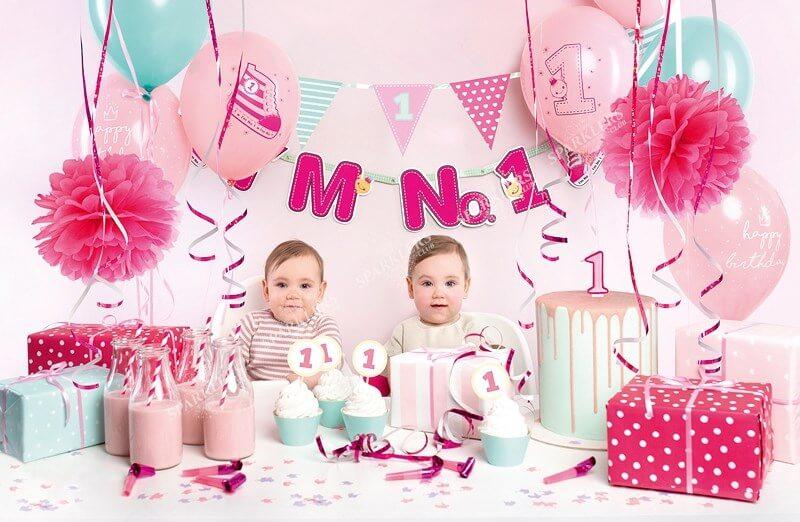 Kit décoration 1er anniversaire rose