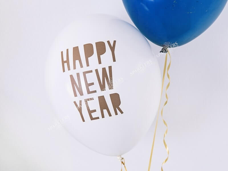 Lot de 50 Ballons Blanc Happy New Year