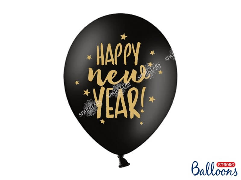 Lot de 50 Ballons Noir Happy New Year