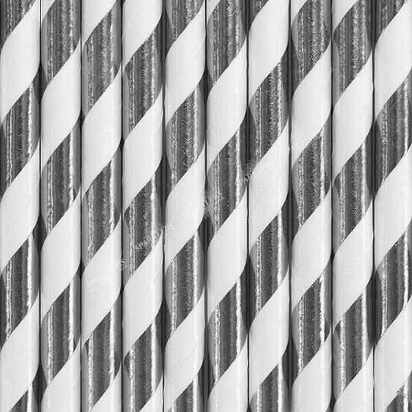 100 Pailles en papier de couleurs argent à rayures blanches