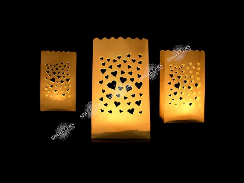 Lanterne photophore mariage avec petits coeurs x10