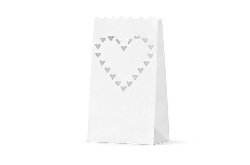Lanterne photophore mariage avec coeurs x10