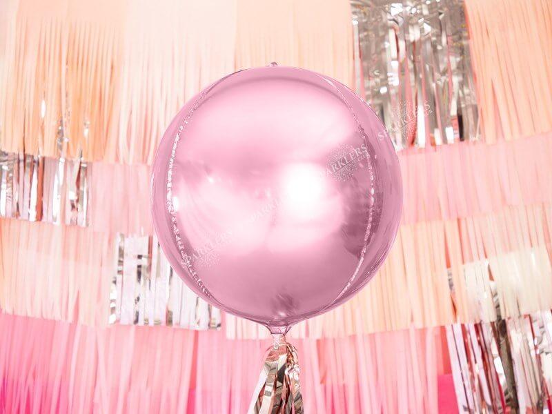 Ballon rond Rose métallique 40cm