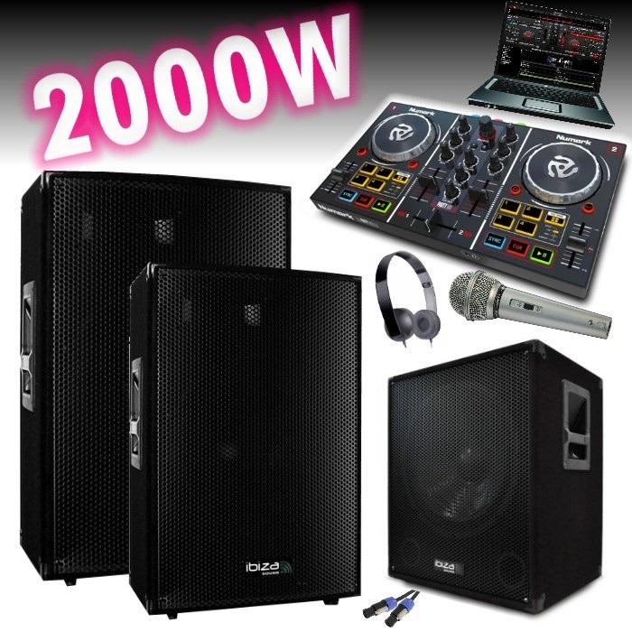 pack sono amplifi 2000w controleur party mix numark. Black Bedroom Furniture Sets. Home Design Ideas