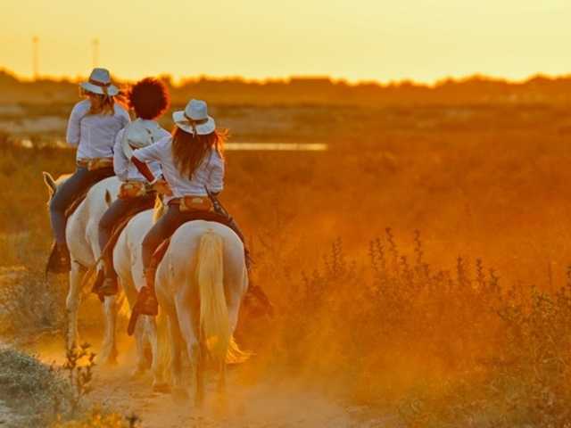 coucher de soleil -  à cheval en Camargue